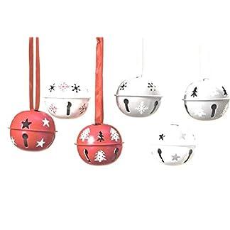Boltze-Glocken-Glckchen-Hnger-Kugel-Rot-Wei-D-ca-5-cm-6-TLG-Metall-Deko-Weihnachten