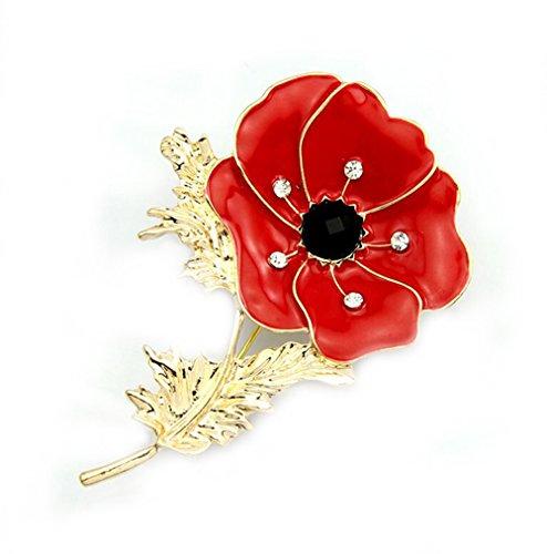 Gudeke Rote Tropfen Öl Rhinestone Mohnblume Blume Maulbeere Papaver Coquelicot Pin Brosche Korsage für Frauen