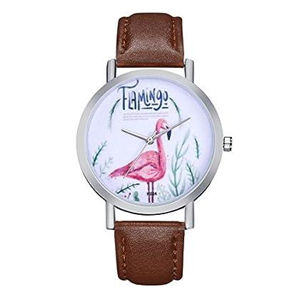 Souarts-Damen-Armbanduhr-Einfach-Stil-wei-Zifferblatt-mit-Flamingos-Muster-Analoge-Quarz-Uhr-Kaffeebraun