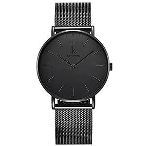 Alienwork-IK-Unisex-Armbanduhr-Damen-Herren-Uhr-Edelstahl-Milanaise-Armband-Mesh-Metallband-Analog-Quarz-Damenuhr-Herrenuhr-Wasserdicht-Ultra-flach-dnn-Klassik