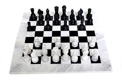 RADICALn-16-Inches-Large-Handmade-White-and-Black-Weighted-Marble-Full-Chess-Game-Set-Staunton-and-Ambassador-Style-Marble-Tournament-Chess-Sets-for-Adults-Non-Wooden-Non-Magnetic-No-Digital-Dgt-RADIC