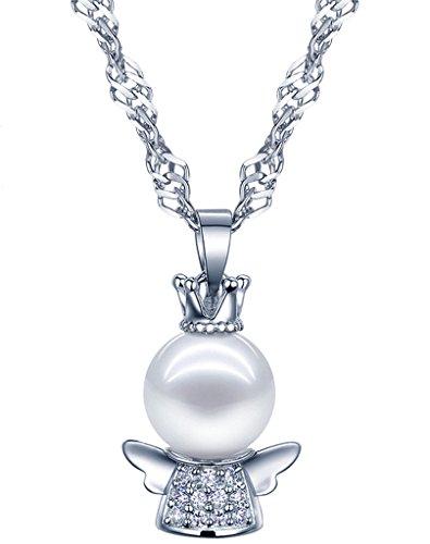 Yumilok 925 Sterling Silber Perle Zikonia Engel Schutzengel Anhänger Halskette Kette mit Anhänger für Damen Kinder