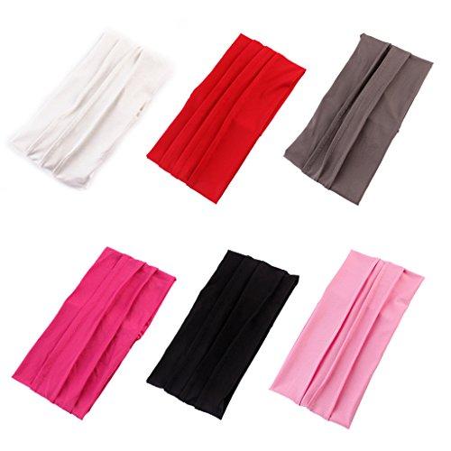 Sharplace 6er-Packung Damen Mädchen Makeup Sport Yoga Stirnband Schweißband Kopftuch Haar Wrap Elastische Haarband