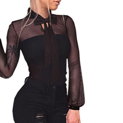 Damen-Jumpsuit-Sommer-Overall-Transparente-Tops-Bodycon-Langarm-Mode-Elegant-Playsuit-Romper
