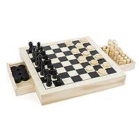 Small-Foot-11208-3-in-1-Schach-Dame-Mhle-hochwertige-Ausfhrung-aus-Holz-Spiele-Klassiker-in-Einem-Set-mit-56-Spielfiguren-Ideal-zum-Mitnehmen-Fr-Kinder-ab-6-Jahren-Spielzeug-Mehrfarbig