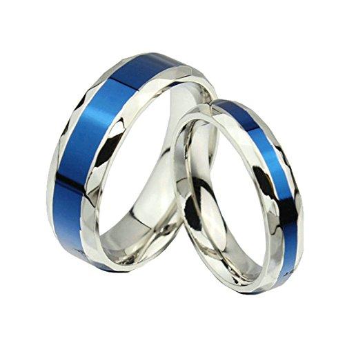 Daesar 2 x Hochzeitsringe für Damen/Herren 4MM,6MM & Silber Blau Ring mit Gratis Gravur