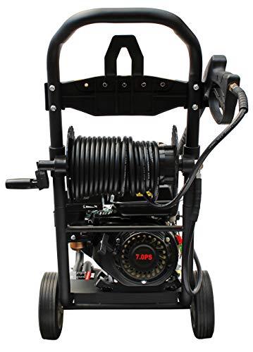 Benzin-Hochdruckreiniger-mit-Schlauchtrommel-max-220-bar-3200-PSI-7-PS-Motor-mit-210-ccm-Reinigungsmaschine-mit-5-Dsen