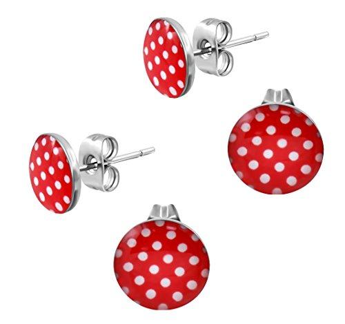 2 Paar Ohrstecker Polka Dot Rot Weiße Punkte – Rockabilly Ohrringe für Damen Ø 10mm Edelstahl