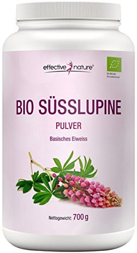 effective nature Bio Süsslupine Pulver Basisches Eiweiss 700g