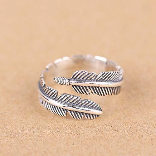 Qingsun Männer Junge Ring Retro Stil Feder Form Handzubehör Farbe Silber
