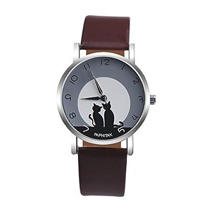 Souarts-Damen-Armbanduhr-Einfach-Stil-Katze-Muster-Analoge-Strass-Quarz-Uhr-mit-Batterie-Braun