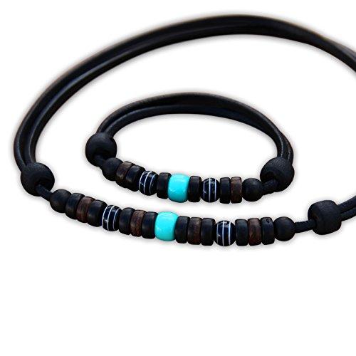 HANA LIMA ® Schmuck Set Surferkette Lederkette Halskette Surferarmband Lederarmband Armband