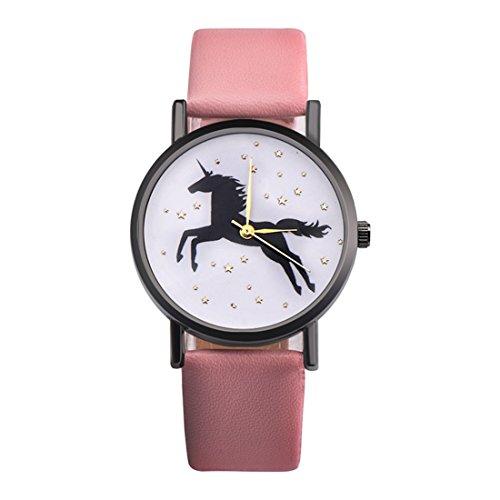 MJARTORIA-Damen-Armbanduhr-Elegant-Einhorn-Motiv-Studentenuhr-Analoge-Quarz-Uhr-Rosa