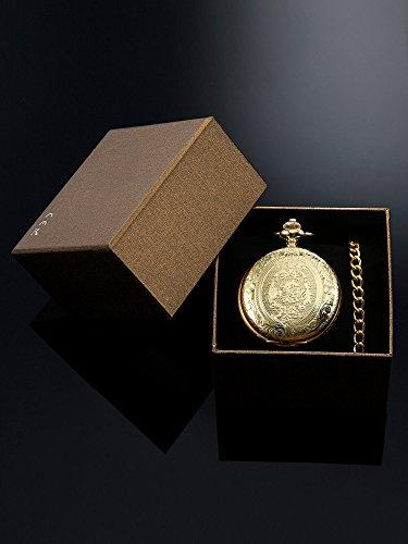 Quarz-Taschenuhr-fr-Mnner-mit-Schwarzem-Zifferblatt-und-Kette-Gold