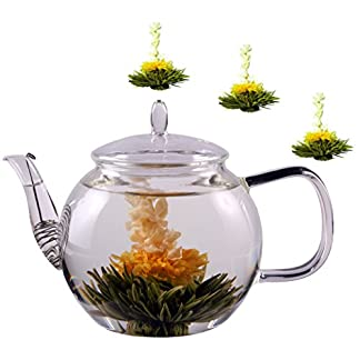 Feelino-Teesets-1300ml-Teekanne-Teeblumen-Tee-weier-schwarzer-grner-Erblhtee-Weitee-Grntee-Schwarztee-Teeblumen-und-Teerosen