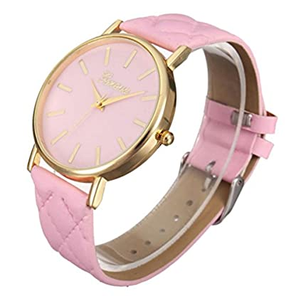 Franterd-Damen-Armbanduhr-Elegant-Uhr-Modisch-Zeitloses-Design-Klassisch-Leder-Rmische-Ziffern-Leder-analoge-Quarzuhr-Armbanduhr-Rosa