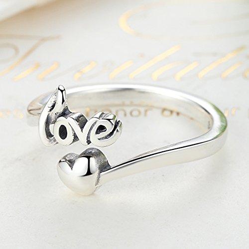 Presentski 925 Silber Größe Verstellbar Ring mit Love Herz für Frauen Damen Mädchen Valentinstag Geschenk
