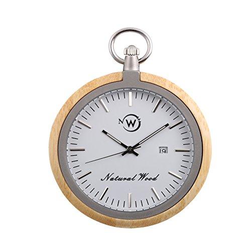 NewNow-Holz-Tasche-Uhr-Schweizer-Quarzwerk-Edelstahl-Kette-Natrliche-Holzkoffer-Man-Uhren-Taschenuhr-Bestes-Geschenk-fr-Geburtstagsfeiertag-und-Vatertag-Schwarze-Walnuss