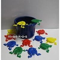 Land-Haus-Shop-Tolles-Frosch-Hpf-Spiel-lustiges-Froschhpfspiel-Geschicklichkeitsspiel-fr-Jung-und-Alt-Frosch-Hpfspiel-12-Frsche-Eimer