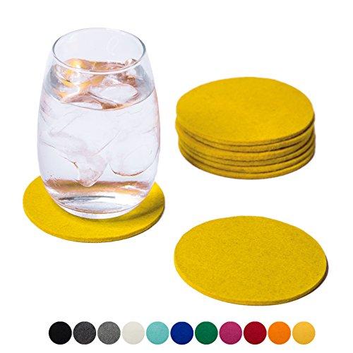 SMACC Filzuntersetzer, rund 8er Set (Farbe wählbar) – Glasuntersetzer aus 100% Wollfilz, Untersetzer für Bar und Tisch Einrichtungsideen als Tischdeko (Gelb)