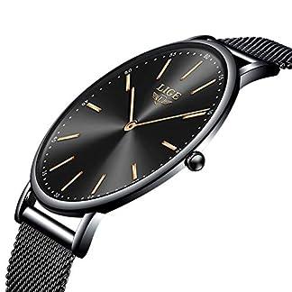 LIGE-Unisex-Damen-Herren-Uhren-Wasserdicht-Mode-Minimalistische-Analoger-Quarz-Armbanduhr-Mnner-Schwarz-Edelstahl-Mesh-Armbanduhren
