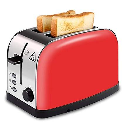 LATITOP-Automatik-ToasterRot-2-Scheiben-Toaster-mit-Breiter-Steckplatz-herausnehmbarem-Krmelschublade-Hoher-Hubhebel-fr-kleine-und-groe-Brotscheiben-Bagels