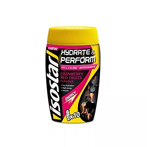 Isostar Hydrate & Perform -Red Fruits – 2x400g Pulver | 2er Angebotspack + Original 1000ml-Trinkflasche