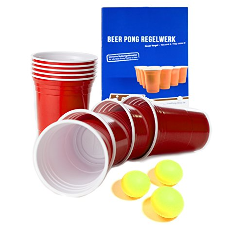 Rote-Becher-Red-Party-Beer-Pong-Cups-16-oz-473-ml-rot-inkl-Beer-Pong-Blle-und-Beer-Pong-Regelwerk