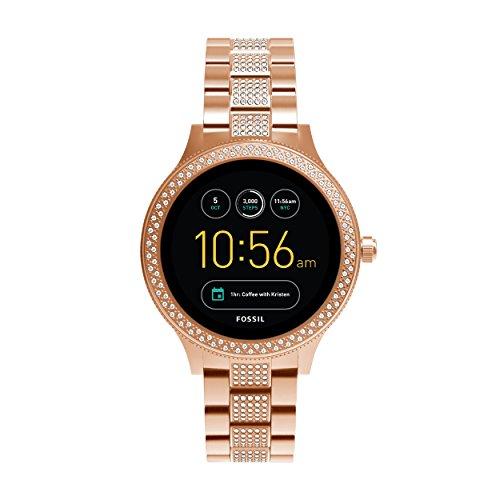 Fossil-Damen-Smartwatch-Q-Venture-3-Generation-Edelstahl-Rosgold-Stylische-Uhr-mit-Smartfunktionen-verziert-mit-Glitzersteinen-Fr-Android-iOS