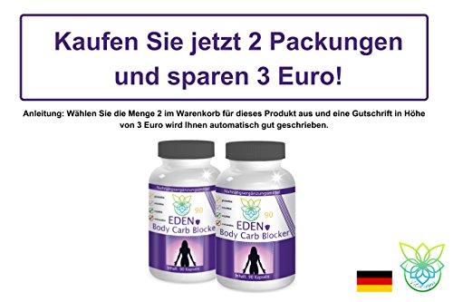 VITARAGNA Eden Body Carb-Blocker 90 Kapseln, der Kohlenhydratblocker mit Bockshornkleesamen und Bohnenpulver als Extrakt