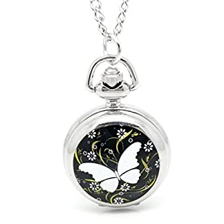 Souarts-Silberfarbe-Antik-Nostalgie-Design-Taschenuhr-Schmetterling-Klassische-Vintage-Mode-Umhngeuhr-Kettenuhr