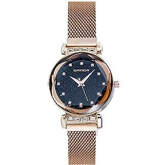 RORIOS-Einfach-Fashion-DamenFrauen-Armbanduhren-Sternenklarer-Himmel-Dial-Meshband-Armband-Analog-Quarzuhr-Armbanduhr