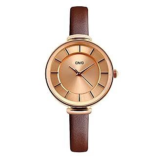 CIVO-Damen-Schlank-Braun-Echtes-Lederband-Luxus-Analog-Quarz-Armbanduhr-Frauen-Casual-Klassisch-Zeitlos-Einfach-Classic-Elegant-Uhr-Weiblich-Kleid-Modisch-Mode-Streamline-fr-Damen-Uhren-Rot-Gold