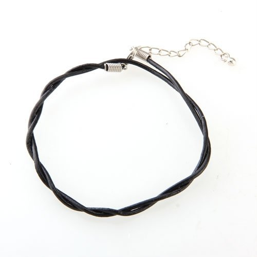 2mm Fußkette Fusskettchen Leder Metall Schwarz Glocke