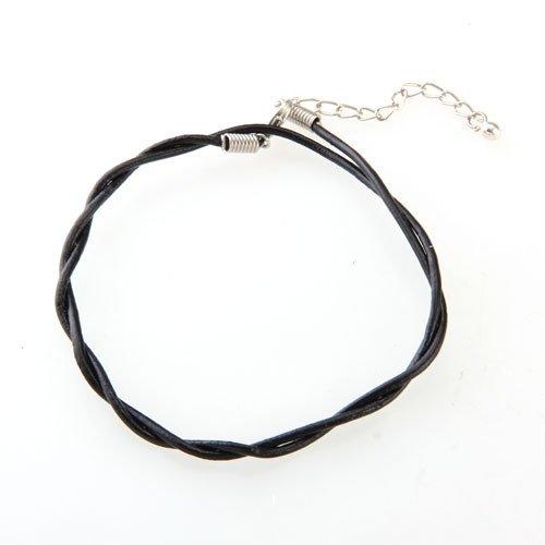 TOOGOO(R) 2mm Fusskette Fusskettchen Leder Metall Schwarz Glocke