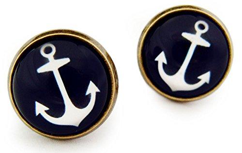 Miss Lovie Ohrstecker Maritim Anker Ohrringe Cabochon 12mm Modeschmuck Schmuck Dunkelblau Weiß Bronze