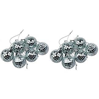 12-Silber-Minidisco-Spiegelkugel-Weihnachtskugel-Haus-Partei-Dekoration