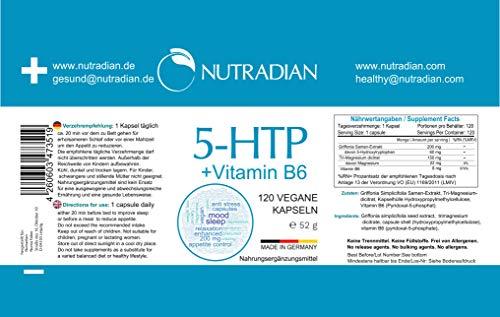 5-HTP plastikfreie Verpackung 200mg Grifffonia Samen Extrakt + Vitamin B6 | 120 vegane Kapseln | hergestellt in Deutschland | 4 Monate Vorrat