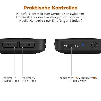 TaoTronics-Bluetooth-Adapter-Audio-Kabellos-Transmitter-Empfnger-2-in-1-Sender-Receiver-Bluetooth-50-aptX-Geringe-Verzgerung-Verbindung-mit-2-Gerten-fr-Heimlautsprecheranlage