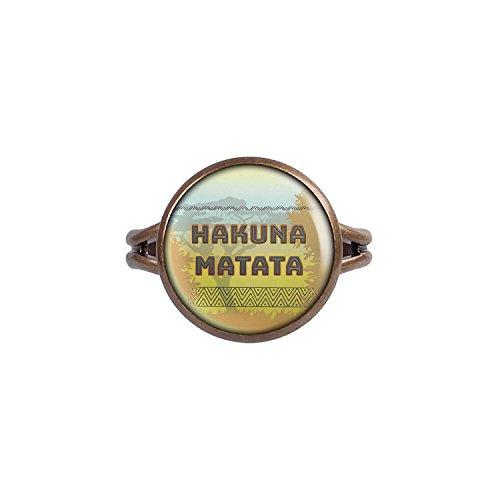 Mylery Ring mit Motiv Hakuna Matata Afrika Savanne Löwen bronze verschiedene Größen