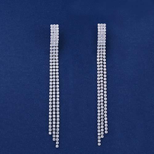 QUKE Zirkonia Kristall Ohrclips Quaste Ohrhänger Ohrringe Lange Tropfen Baumeln Clip Auf Ohrringe CZ Nicht Durchbohrt Für Damen