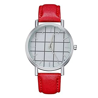 Sepbear-Unisexuhr-fr-Jungen-und-Mchen-Analog-Quarz-Armbanduhr-mit-Leder-Armband-und-Karo-Design-Silber-Zifferblatt-Uhr