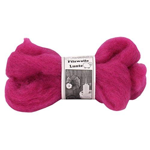 Filz-Wolle pink 2er Pack, Lunte-Set je 2m, 30 – 40 mm breit, ca. 60g ✓ 100% Schafschurwolle ✓ Nass-filzen & Trocken-filzen ✓ wasserfest lichtecht farbecht Bastel-Filz   trendmarkt24 – 7730281