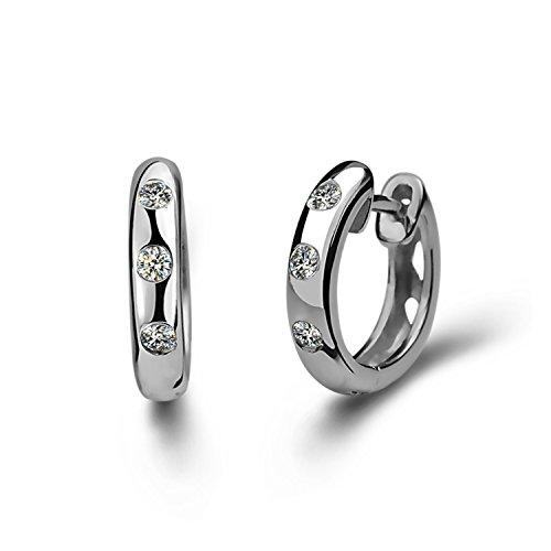 Blingery Ohrringe Sterlingsilber 925, Zirkonia, Strasssteine, für Frauen und Mädchen, 13 mm