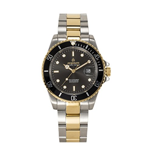 argonau-Herren-Armbanduhr-24K-Gold-berzogen-Zwei-Ton-Edelstahl-Limited-Edition-Pinsel-Zifferblatt-Saphirkristallglas-Quarz-Analog-Wasserdicht-Spezielle-Deep-Ocean-Serie-Taucher-Armbanduhr-AU2003
