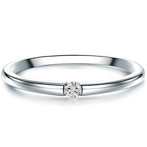 Tresor 1934 Damen-Solitärring Sterling Silber Diamant weiß im Brillantschliff 0,05 Karat-Verlobungsring Diamantring Solitär Verlobungsring Brillant