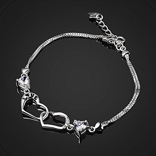 B.Catcher Damen Armband Herz 925 Silber Schmuck Liebe Handgefertigt Einstellbar mit Box (16.2+3.7 cm) Best Geschenk für Damen/Frau/Freundin/Tochter