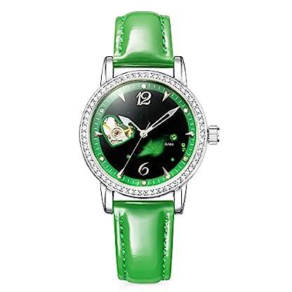 Time100-Sternzeichen-Armbanduhr-fr-Damen-Leder-Automatik-Wasserdicht-Analog-Zwillinge