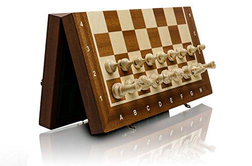 Master-of-Chess-Atemberaubende-TURNIER-Nr-3-MAGNETIC-Professionelle-Holz-Schach-Set-mit-Staunton-Figuren-35cm-14in