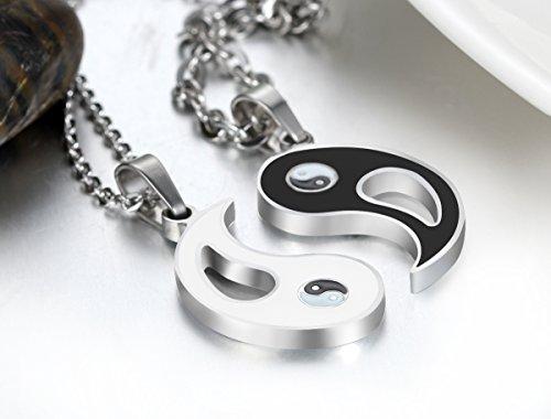 JewelryWe Schmuck 2 Freundschaftsketten Tai Chi Yin und Yang Edelstahl Partner-Anhänger mit 45cm und 55cm Kette, Halskette für Damen & Herren, Weiß Schwarz